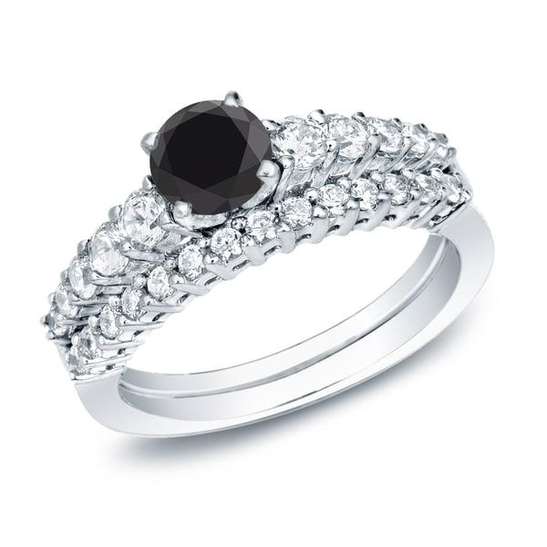 Auriya 14k Gold 1ct TDW Black Diamond Engagement Ring and Wedding Band Set