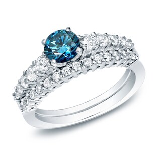 Auriya 14k Gold 1ct TDW Blue Diamond Bridal Ring Set (Blue)