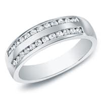 Auriya 10k Gold 1/4ct TDW Channel-Set Diamond Wedding Band