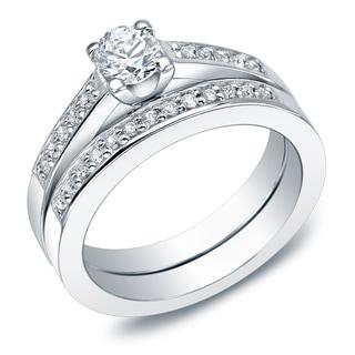 Auriya 1 Carat TW Round Diamond Engagement Ring Set