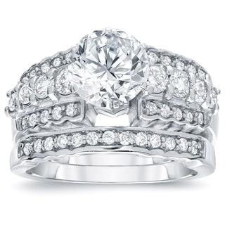 Auriya 14k White Gold 2ct TDW Round Cut Diamond Bridal Ring Set (H-I, SI2-SI3)