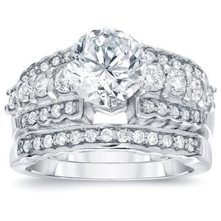 Auriya 14k White Gold 2ct TDW Certified Round-cut Diamond Bridal Ring Set