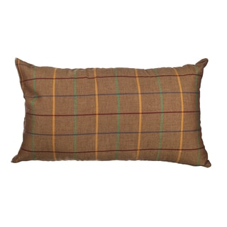 Brown Window Pane Plaid 12x20-inch Down Alternative Filled Throw Pillow