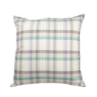 Cream Multi Plaid Down Alternative Filled 18-inch Throw Pillow