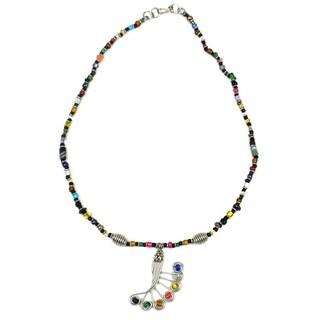 Handmade Beaded Peacock Feather Single Strand Necklace (Kenya)