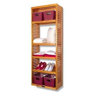 John Louis 12-inch Deep Honey Maple Standalone Tower with Adjustable Shelves