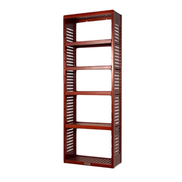 John Louis Home Deluxe 12-inch Red Mahogany Standalone Tower with Adjustable Shelves