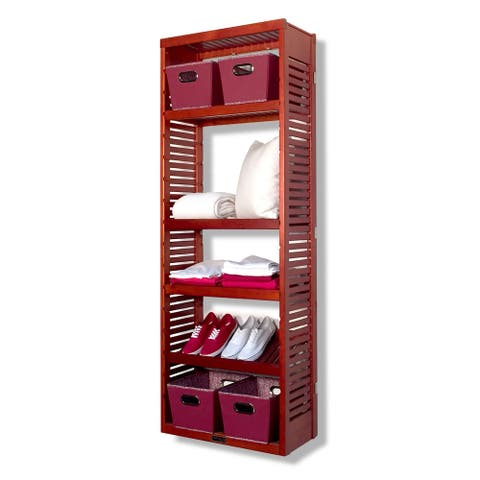 John Louis Home Solid Wood Premier Storage Tower Red Mahogany