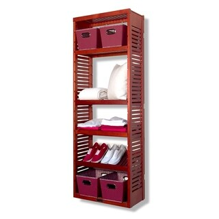 John Louis 12-inch Red Mahogany Standalone Tower with Adjustable Shelves