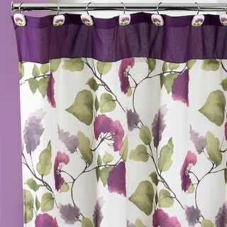 Beautiful Water Color Style Painted Lilac Shower Curtain and Hooks Set or Separates (3 options available)