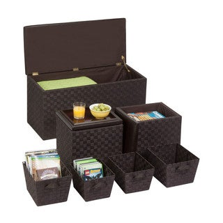 7pc ottoman storage set, espresso