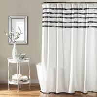 Lush Decor Aria Pom Pom Shower Curtain