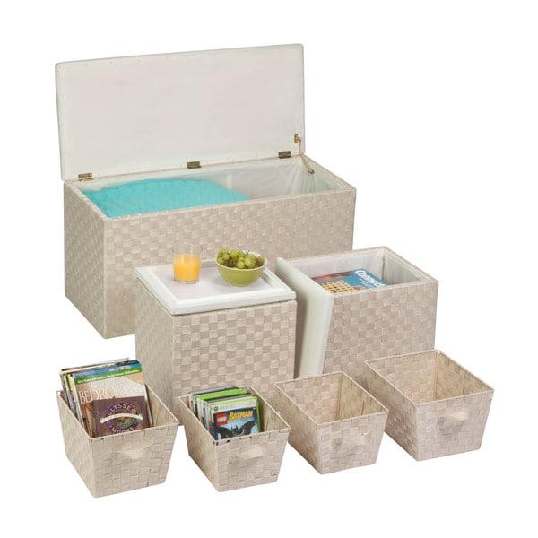 7pc ottoman storage set, cream