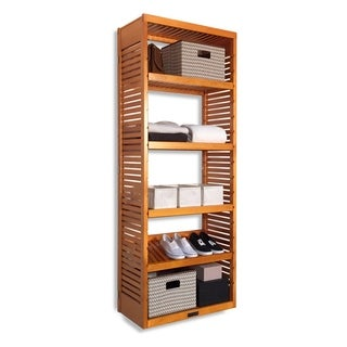 16-inch Deep Honey Maple Standalone Tower with Adjustable Shelves
