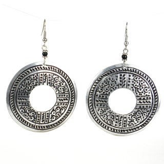 Handmade Stamped Recycled Cooking Pot 'Open Medallion' Earrings (Kenya)