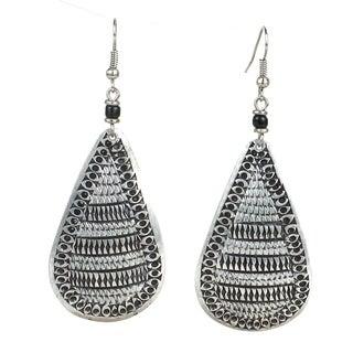 Handmade Stamped Recycled Cooking Pot 'Teardrop' Earrings (Kenya) - Silver Black