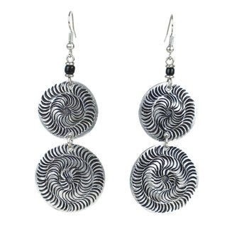 Stamped Recycled Cooking Pot 'Double Disk' Earrings (Kenya)