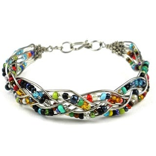Woven Silverplated Wire and Colorful Bead Bracelet (Kenya)