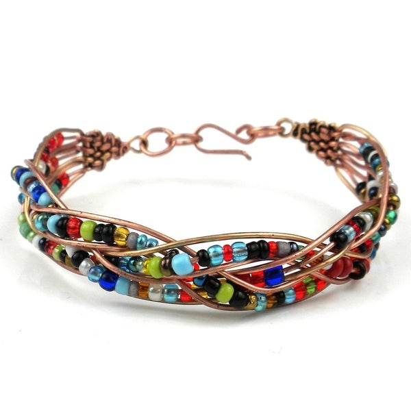 Handmade Woven Copper Wire and Colorful Bead Bracelet (Kenya)