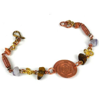 Handmade Copper, Brass, and Agate Bracelet with Copper Swirl (Kenya)