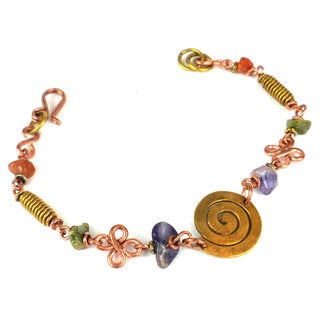 Handmade Copper, Brass, and Agate Bracelet with Brass Swirl (Kenya)