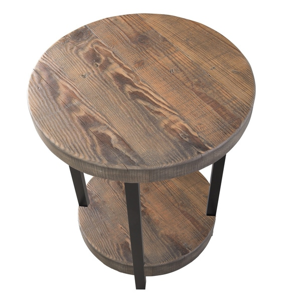 Alaterre Pomona Metal And Reclaimed Wood Round End Table   Free Shipping  Today   Overstock.com   17481783