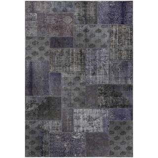 Vintage Patchwork Overdyed Dark Gray Wool Rug (6.11' x 9.11')