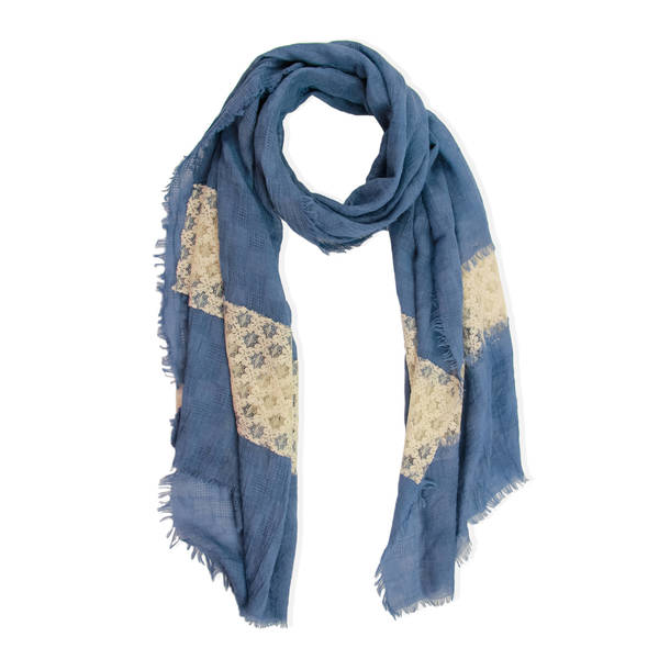 Handmade Saachi Women's Blue Laced Scarf (China)