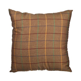 Brown Window Pane Plaid Down Alternative Filled 18-inch Throw Pillow