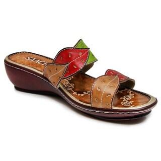 Saachi Women's Leaf Leather Wedge Sandals (China)