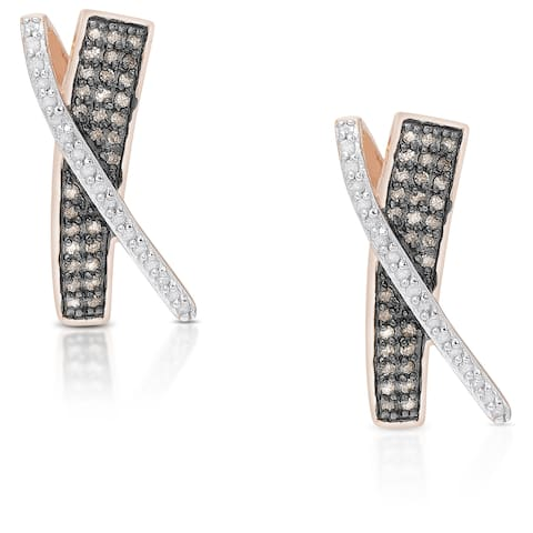 Finesque Gold Over Sterling Silver 1/4 Ct TDW Black and White Diamond X Stud Earring