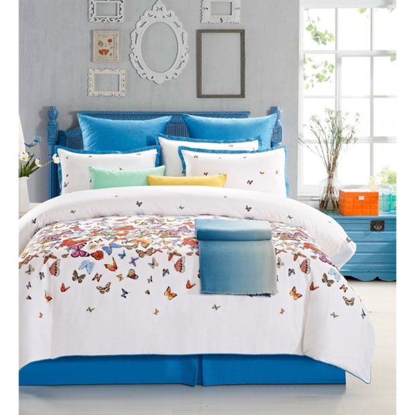 everrouge butterfly cotton 7piece duvet set