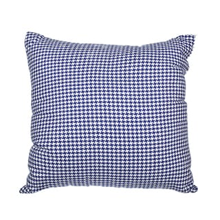 Royal Blue Woven Houndstooth Down Alternative Filled 18-inch Throw Pillow