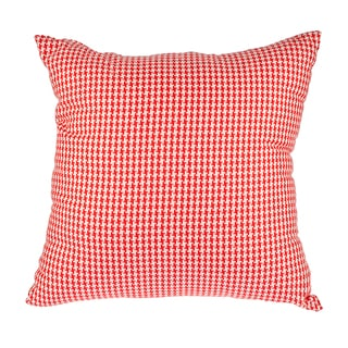 Red Woven Houndstooth Down Alternative Filled 18-inch Throw Pillow