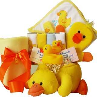 Bath Time Essentials Rubber Duck Baby Gift Basket