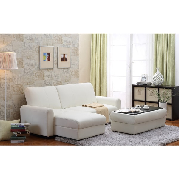 Shop Aerie Bi-Cast Leather 3-piece Sectional Sofa Bed with