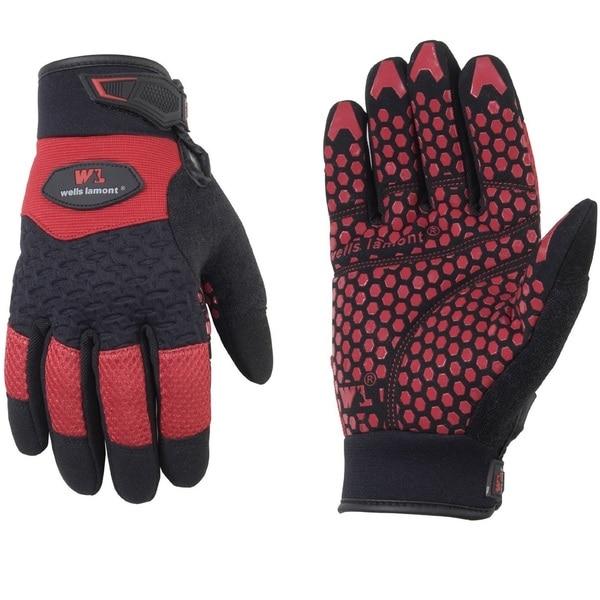 Wells Lamont Gripper Work Gloves for Men Red Black