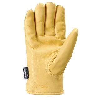 Insulated Lined Leather Grain Deerskin Work Gloves for Men