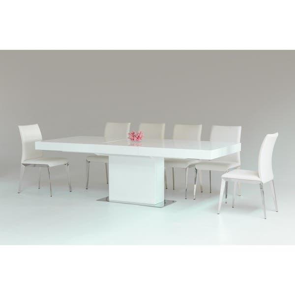 Modrest Durham Modern White Lacquer Extendable Dining