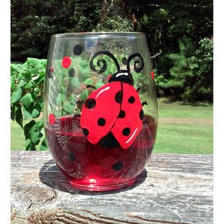 Red and Black Ladybug 20-ounce Hand-painted Stemless Wine Glasses (Set of 2)