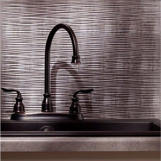 Fasade Ripple Crosshatch Silver 18 in. x 24 in. Backsplash Panel
