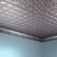 Fasade Traditional Style #4 Crosshatch Silver 2 ft. x 4 ft. Glue-up Ceiling Tile
