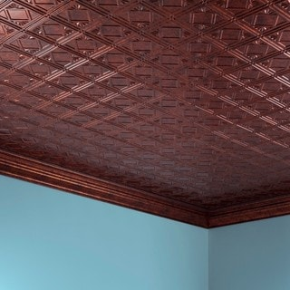 Fasade Traditional Style #4 Moonstone Copper 2 ft. x 4 ft. Glue-up Ceiling Tile
