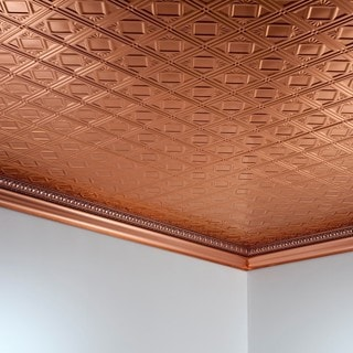 Fasade Traditional Style #4 Polished Copper 2 ft. x 4 ft. Glue-up Ceiling Tile