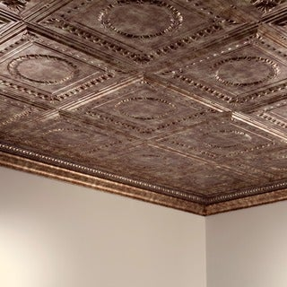 Fasade Rosette Bermuda Bronze 2 ft. x 4 ft. Glue-up Ceiling Tile
