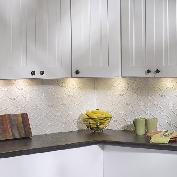 White Backsplash Tiles: Shop Fasade Rings Gloss White 18 In. X 24 In. Backsplash