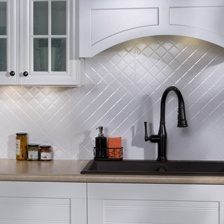 Fasade Quilted Gloss White 18 In. X 24 In. Backsplash Panel