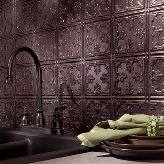 Fasade Traditional Style #10 Smoked Pewter 18 in. x 24 in. Backsplash Panel