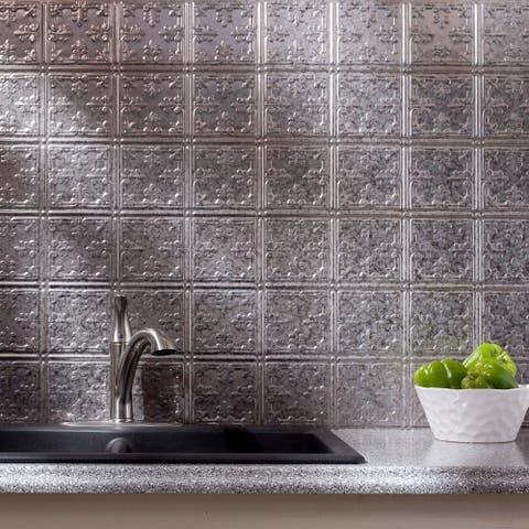 Fasade Traditional Style #10 Galvanized Steel 18 in. x 24 in. Backsplash Panel