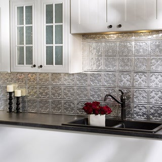 Fasade Traditional Style #10 Brushed Aluminum 18 in. x 24 in. Backsplash Panel